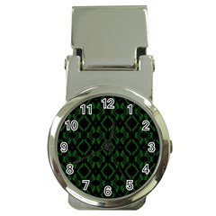 Green Black Pattern Abstract Money Clip Watches by Nexatart