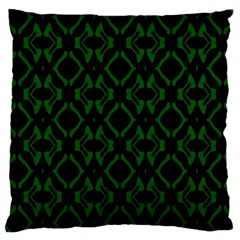 Green Black Pattern Abstract Large Cushion Case (one Side)
