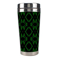 Green Black Pattern Abstract Stainless Steel Travel Tumblers by Nexatart
