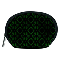 Green Black Pattern Abstract Accessory Pouches (medium)  by Nexatart