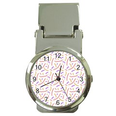 Confetti Background Pink Purple Yellow On White Background Money Clip Watches by Nexatart