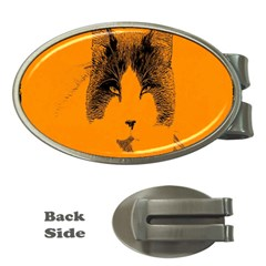 Cat Graphic Art Money Clips (oval)  by Nexatart