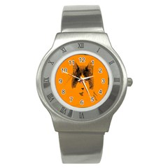 Cat Graphic Art Stainless Steel Watch