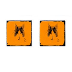 Cat Graphic Art Cufflinks (square) by Nexatart