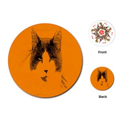 Cat Graphic Art Playing Cards (round)