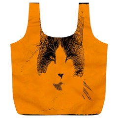 Cat Graphic Art Full Print Recycle Bags (l)  by Nexatart