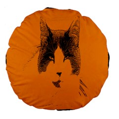 Cat Graphic Art Large 18  Premium Flano Round Cushions by Nexatart