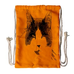 Cat Graphic Art Drawstring Bag (large) by Nexatart