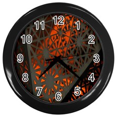 Abstract Lighted Wallpaper Of A Metal Starburst Grid With Orange Back Lighting Wall Clocks (black) by Nexatart