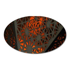 Abstract Lighted Wallpaper Of A Metal Starburst Grid With Orange Back Lighting Oval Magnet by Nexatart