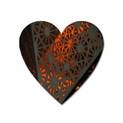 Abstract Lighted Wallpaper Of A Metal Starburst Grid With Orange Back Lighting Heart Magnet by Nexatart