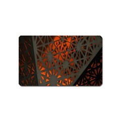 Abstract Lighted Wallpaper Of A Metal Starburst Grid With Orange Back Lighting Magnet (name Card) by Nexatart