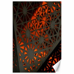 Abstract Lighted Wallpaper Of A Metal Starburst Grid With Orange Back Lighting Canvas 12  X 18   by Nexatart