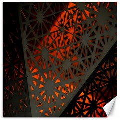 Abstract Lighted Wallpaper Of A Metal Starburst Grid With Orange Back Lighting Canvas 16  X 16   by Nexatart