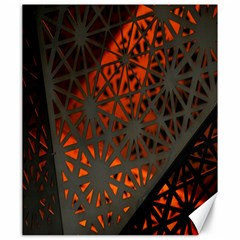 Abstract Lighted Wallpaper Of A Metal Starburst Grid With Orange Back Lighting Canvas 20  X 24   by Nexatart