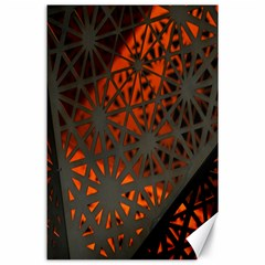 Abstract Lighted Wallpaper Of A Metal Starburst Grid With Orange Back Lighting Canvas 24  X 36  by Nexatart