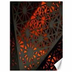 Abstract Lighted Wallpaper Of A Metal Starburst Grid With Orange Back Lighting Canvas 36  X 48   by Nexatart