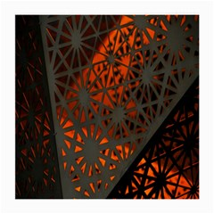 Abstract Lighted Wallpaper Of A Metal Starburst Grid With Orange Back Lighting Medium Glasses Cloth