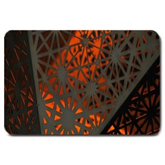 Abstract Lighted Wallpaper Of A Metal Starburst Grid With Orange Back Lighting Large Doormat  by Nexatart