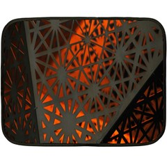 Abstract Lighted Wallpaper Of A Metal Starburst Grid With Orange Back Lighting Double Sided Fleece Blanket (mini)  by Nexatart