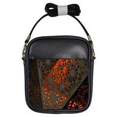 Abstract Lighted Wallpaper Of A Metal Starburst Grid With Orange Back Lighting Girls Sling Bags by Nexatart