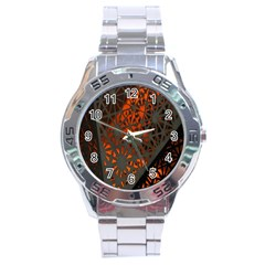 Abstract Lighted Wallpaper Of A Metal Starburst Grid With Orange Back Lighting Stainless Steel Analogue Watch by Nexatart