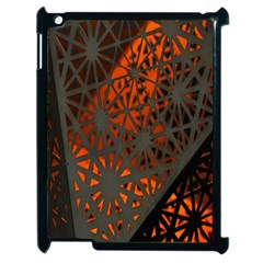 Abstract Lighted Wallpaper Of A Metal Starburst Grid With Orange Back Lighting Apple Ipad 2 Case (black) by Nexatart