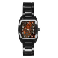 Abstract Lighted Wallpaper Of A Metal Starburst Grid With Orange Back Lighting Stainless Steel Barrel Watch by Nexatart