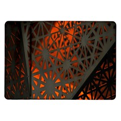 Abstract Lighted Wallpaper Of A Metal Starburst Grid With Orange Back Lighting Samsung Galaxy Tab 10 1  P7500 Flip Case