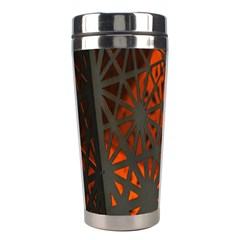 Abstract Lighted Wallpaper Of A Metal Starburst Grid With Orange Back Lighting Stainless Steel Travel Tumblers by Nexatart