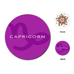 Zodiac Capricorn Purple Playing Cards (round)  by Mariart