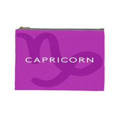 Zodiac Capricorn Purple Cosmetic Bag (large)  by Mariart