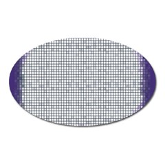 Purple Square Frame With Mosaic Pattern Oval Magnet by Nexatart