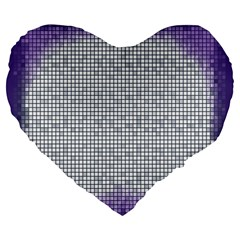 Purple Square Frame With Mosaic Pattern Large 19  Premium Flano Heart Shape Cushions by Nexatart