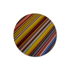 Colourful Lines Rubber Coaster (round)  by Nexatart