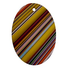 Colourful Lines Oval Ornament (two Sides)