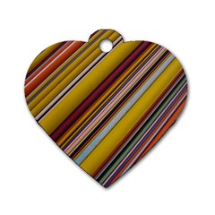 Colourful Lines Dog Tag Heart (one Side)