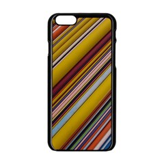 Colourful Lines Apple Iphone 6/6s Black Enamel Case by Nexatart