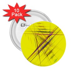 Fractal Color Parallel Lines On Gold Background 2 25  Buttons (10 Pack)