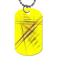 Fractal Color Parallel Lines On Gold Background Dog Tag (one Side) by Nexatart