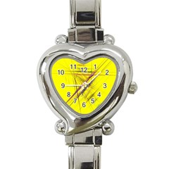 Fractal Color Parallel Lines On Gold Background Heart Italian Charm Watch