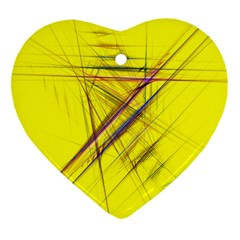 Fractal Color Parallel Lines On Gold Background Heart Ornament (two Sides) by Nexatart