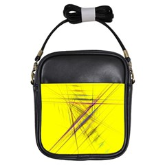Fractal Color Parallel Lines On Gold Background Girls Sling Bags by Nexatart