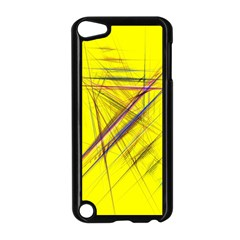 Fractal Color Parallel Lines On Gold Background Apple Ipod Touch 5 Case (black) by Nexatart