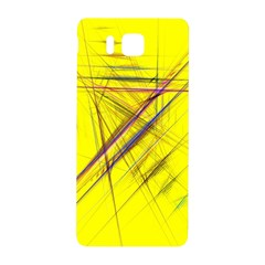Fractal Color Parallel Lines On Gold Background Samsung Galaxy Alpha Hardshell Back Case by Nexatart