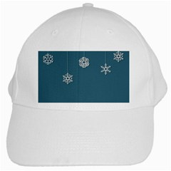 Blue Snowflakes Christmas Trees White Cap by Mariart