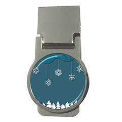 Blue Snowflakes Christmas Trees Money Clips (round)  by Mariart
