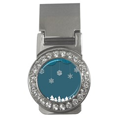 Blue Snowflakes Christmas Trees Money Clips (cz)  by Mariart
