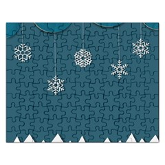 Blue Snowflakes Christmas Trees Rectangular Jigsaw Puzzl by Mariart