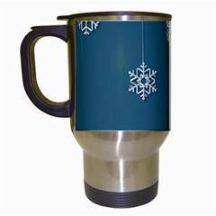 Blue Snowflakes Christmas Trees Travel Mugs (white) by Mariart